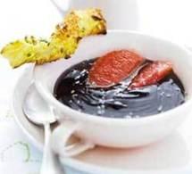 recette : soupe de chocolat au pamplemousse, sacristain coco-pistache
