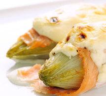 Endives gratinées au saumon et au mascarpone