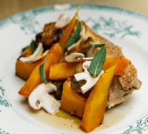 Recette santé de chef : filet de poulet saumuré accompagné de potimarron poêlé