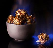 Recette  aux châtaignes : châtaignes flambées en bogues de riz cuites vapeur