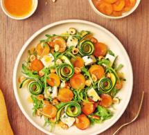 Salade de Mirabelles de Lorraine, courgettes marinées, roquefort et vinaigrette au pamplemousse