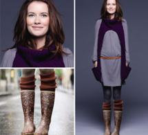Tricots gratuits : une écharpe snood et des chaussettes hautes en laine