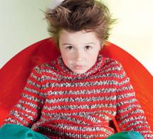 pull rayé à tricoter pour enfant et adolescent - explications gratuites