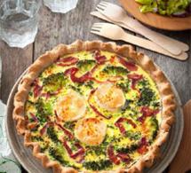 recette salée sans gluten : tarte fromage chèvre-brocoli